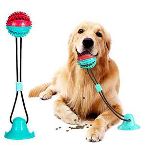 APzek Suction Cup Dog Toy, Upgraded Dog Molar Bite Toys with Suction Cup, Dog Tug of War Toy for Pulling Chewing Dispensing Teeth Cleaning (Green-red)