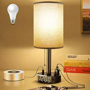 Gray Nightstand Light Lampshade 6ft Plug Extension Cord Dual USB Charging Port AC Outlet, Cylinder Desk Lamp Clock Charger Bedroom Home Dorm School Office Electric Adapter Socket Reading Work Study