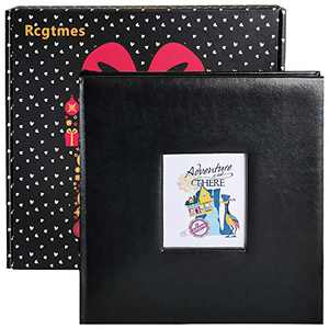 Scrapbook Photo Album with Front Window, Blank Black Cardstock,10.2 x 10 in,Large DIY photo book 60 Pages