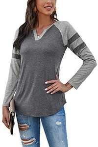 Yidarton Women's Color Block Long Sleeve T Shirt Casual V Neck Tunic Tops(Gray,S)