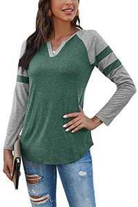 Yidarton Women's Color Block Long Sleeve T Shirt Casual V Neck Tunic Tops(Green,L)