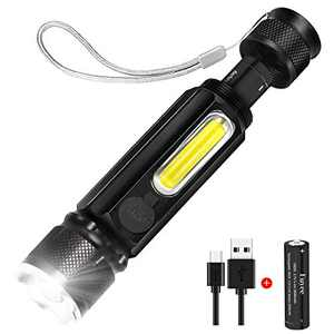 Euyee Rechargeable Flashlight High Lumen Magnetic LED Flashlight - Zoomable, 4 Modes with COB Work Light, Water Resistant, Handheld Light - for Camping, Hiking, Emergency(with 18650 Battery) …