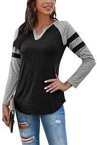 Yidarton Women's Color Block Long Sleeve T Shirt Casual V Neck Tunic Tops(Black,L)