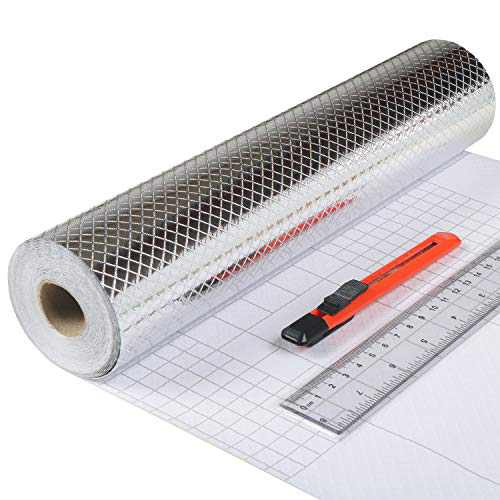 """Aluminum Foil Sticker for Kitchen,Self Adhesive/Oil Proof/Heat Resistant 11.8"""" x 40FT (Checkered Texture)"""