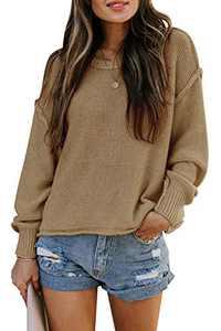 TARSE Womens Drop Shoulder Crewneck Sweater Long Loose Lantern Sleeve Pullover Tops, Apricot, M