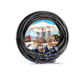 """Misting Cooling System Misting Cooling System Water Irrigation 32.8FT(10M) with 11 Copper Metal Mist Nozzles and a Connector(3/4"""") for Trampoline Waterpark Patio Umbrella,Shade Sail Automatic Distrib"""