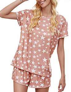 kayamiya Womens Pajamas Set Tie Dye Printed Short Sleeve Top and Shorts PJ Sets Pink Star XX-Large