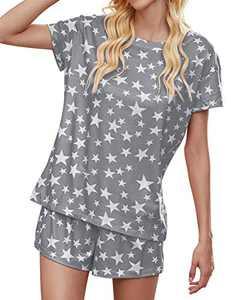 kayamiya Womens Pajamas Set Tie Dye Printed Short Sleeve Top and Shorts PJ Sets Grey Star Large