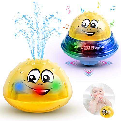 Baby Bath Toys Light Up Bathtub Toys 2 in 1 Automatic Induction Water Spray Toy & Space UFO Car Toys with Light Musical Bath Toy for Kids Toddlers