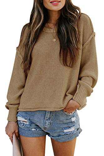 TARSE Womens Drop Shoulder Crewneck Sweater Long Loose Lantern Sleeve Pullover Tops (Apricot, X-Large)