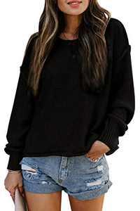TARSE Womens Drop Shoulder Crewneck Sweater Long Loose Lantern Sleeve Pullover Tops, Black, S