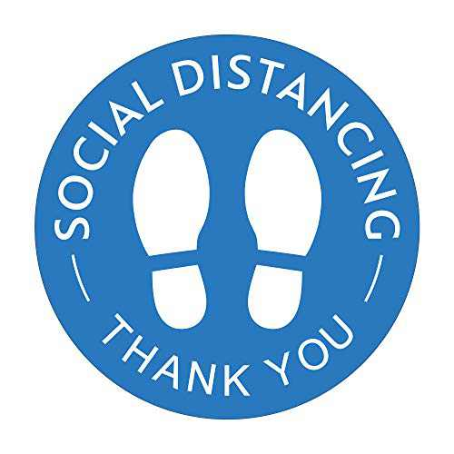"""Social Distancing Floor Decals, Pack of 6, 12"""" Blue Removable Safety Sign, Waterproof Wait Here Sign Distance of 6 Feet Specialized Sticker Markers, for Crowd Control Guidance, Pharmacy, Bank, Lab"""