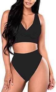 Cysincos Women High Waisted Bikini Set High Cut V Neck Push up Swim Tops Two Piece Bathing Suits (Black, XX-Large)
