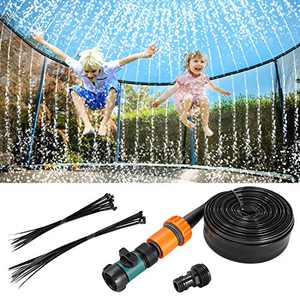 Fostoy Trampoline Sprinkler, 39ft Outdoor Trampoline Accessories Water Play Sprinklers Fun Water Park Game for Kids