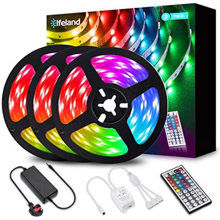 LED Strips Lights 12m,Elfeland Color Changing Rope Lights 39.4ft 360LEDs 5050 RGB Light Strip IP20 12V Power Adapter with 44 Key IR Remote LED Lighting Strip for Garden Bar Party Home Decorations 3x4m
