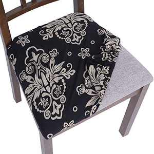 SearchI Chair seat Covers, Stretch Printed Dining Room Chair Seat Covers Removable Washable Chair Seat Covers Anti-Dust Chair Seat Cushion Slipcovers for Dining Room, Kitchen(blacka, 6pcs)