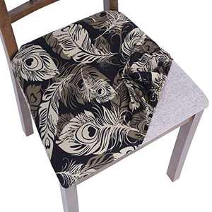 SearchI Chair seat Covers, Stretch Printed Dining Room Chair Seat Covers Removable Washable Chair Seat Covers Anti-Dust Chair Seat Cushion Slipcovers for Dining Room, Kitchen(blackb, 6pcs)