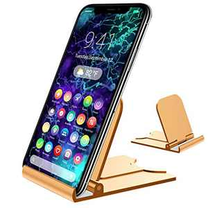 Adjustable Cell Phone Stand, Foldable Multi-Angle for Desk (Golden)