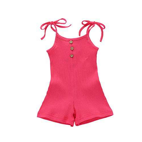 GLIGLITTR Newborn Baby Toddler Kid Girls Romper Strap Sleeveless Bodysuit Jumpsuit Shorts Summer Outfits Clothes (Rose Red, 6-9 Months)