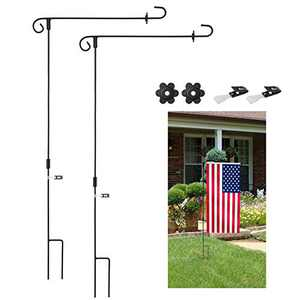 KATEVO Garden Flag Stand, 2-Pack Premium Garden Flag Pole Holder Metal Powder-Coated Weather-Proof Paint with Two Tiger Clip and Two Spring Stoppers Without Flag (2-Pack)