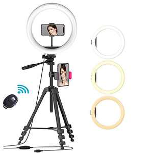 """10"""" Ring Light with 54'' Extendable Tripod Stand & Phone Holder, Dimmable LED Ring Light, 3 Modes 10 Brightness for YouTube Video, Live Streaming, Selfie, Makeup,Vlog Compatible with iPhone Android"""