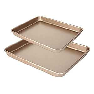 Baking Cookie Sheets Pan, 2pcs Nonstick Pans for Baking, Heavy Gauge Steel Baking Pan w/Rimmed Border, 1-inch Deep Cookie Sheet Replacement Toaster Oven Tray, Non-Toxic & Easy Clean