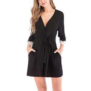 Lu's Chic Women's Kimono Robe Short Lace Bathrobe Soft Thin Lightweight Modal Jersy Pure Sleepwear Black Large