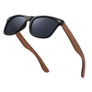 Cavir Polarised Sunglasses for Men with Walnut Wooden Legs, UV400 Protection, Outdoor Sports Sunglasses, Cycling Fishing Hiking Eyewear Sunglasses (Black)