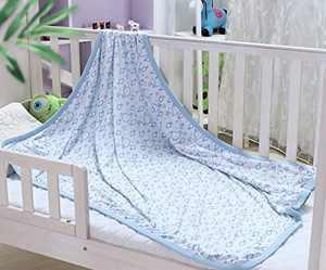 Kingnex Bamboo Cotton Muslin Blanket for Baby - Lightweight Soft Crib Blanket - 39x47