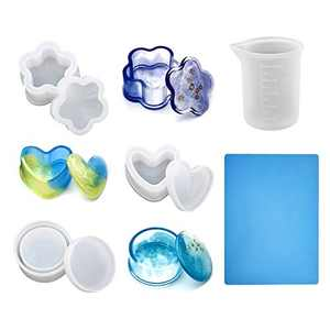 YAKAMOZ 5PCS Box Resin Molds, Jewelry Box Mold with Large Silicone Sheet and Measuring Cups for DIY Jewelry Box, Lipstick Holder, Candle Holder Making