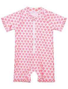 Cadocado Big Girls Sunsafe Suit One Piece Rash Guard Shirts Short Sleeve Swimsuit Quick Dry Sun Suit Swimwear,Pink Floral Print,5-6 Years
