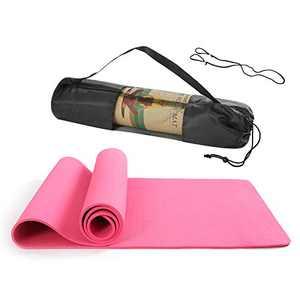BHANU Yoga Mat Comfortable and Good Exercise Mat with Carrying Strap and Yoga Bag-Workout Mat for Yoga Pilates, Gym Pink