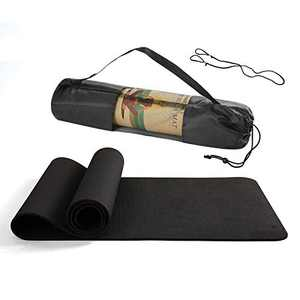 BHANU Yoga Mat Non-slip Durable Exercise Mat Yoga Exercise Mat with Yoga Bag and Rope Super Long Yoga Mat Pilates Free Exercise Black
