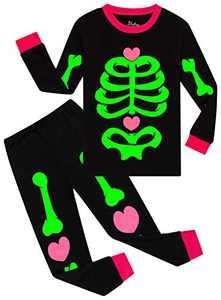 Little Girls Pajamas Halloween Glow In The Dark Pjs Children Skeleton Spider Sleepwear 7t