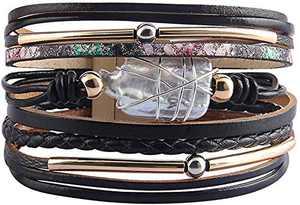 Fesciory Leopard Bracelet for Women Wrap Multi-Layer Leather Bracelet Magnetic Clasp Cuff Bangle Jewelry(Black Leather(Pearl))