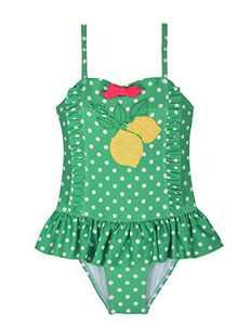 Cadocado Girls Swimsuit Ruffle One Piece Polka Dot Layered Swimwear,Green,2-3Years