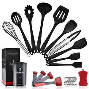 Silicone Cooking Utensil Set, Pahajim 26pcs Silicone Cooking Kitchen Utensils Set, Non-stick Heat Resistant - Kitchen Cookware with Stainless Steel Handle (2Black-Silicone Handle)