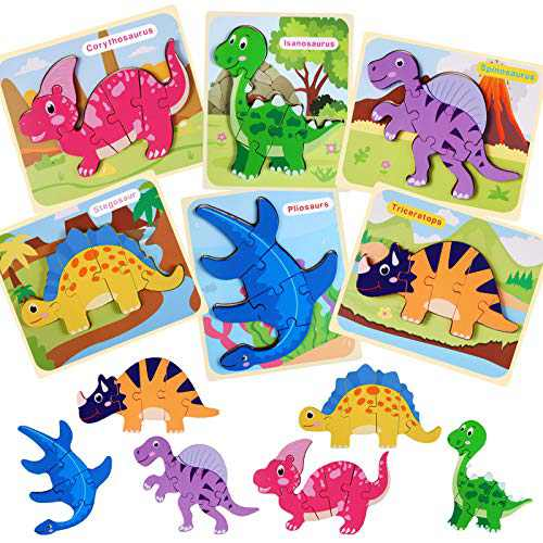6 Pack Dinosaur Wooden Jigsaw Puzzles Educational Toys for Toddler Ages 1 2 3 4 5 Year Old Gifts for Toddlers