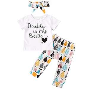 Baby Girls 3 Pcs Pants Outfit Set Short Sleeve Letters Print T-Shirt Top Flowers Pants and Headband (6-12 Months, Daddy is My Bestie)