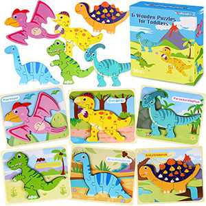 6 Pack Dinosaur Wooden Jigsaw Puzzles Preschool Learning Toys for Toddler Ages 1 2 3 4 5 Year Old Gift