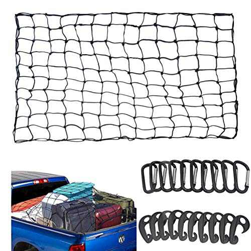 "ECWKVN 3'x4' Duty Cargo Net, Latex Bungee Net Stretches to 6'x8' for Rooftop Cargo Rack, Pickup Bed, Trailer, Trunk, SUV with 10 D Clip Carabiners+10 Hooks, 3""x3"" Mesh Holds Small Large Loads Tighter"