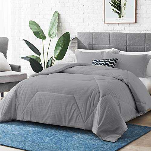 "Hansleep Comforter Set, Embossed Bedding Set Ultra Soft Breathable Down Alternative Duvet Insert with Pillow Sham, Machine Washable (Grey, Twin 68x90"")"