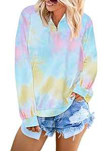 LOSRLY Womens 1/4 Zip Tie Dye Printed Long Sleeve Pullover Sweatshirt Stand Collar Shirt Loose Blouse Tunic Jump Top Multicolor Large