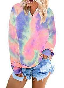 LOSRLY Womens Tie Dye Printed Color Block Long Sleeve 1/4 Zip Pullover Loose Lightweight Tops Sweatshirts Pink Small