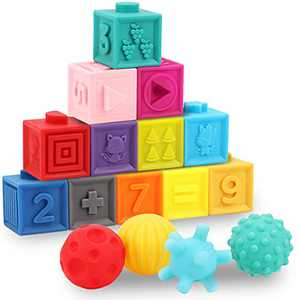 GILOBABY 16 PCS Baby Soft Blocks Sensory Balls Set, Stacking Building Blocks Squeeze Toys, Baby Teething Bath Toys with Numbers Animals Shapes Textures for Toddlers 6 Months+