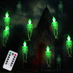Ghost Skeleton Lights Halloween String Lights, 15 LED Battery-Powered Remote-Control Halloween Decoration for Outdoor, Indoor, Garden, Yard, Tree, Party (Green)
