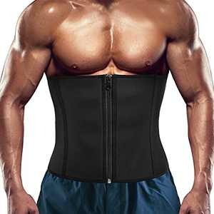 RACELO Men Waist Trainer Trimmer Sauna Tummy Control Corset Belly Sweat Belt Body Shaper Back Support (Black Waist Cincher, XL)