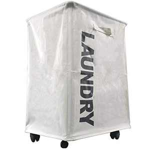 Laundry Hamper Drawstring Waterproof Round Cotton Linen Collapsible Storage Hamper (White / L)