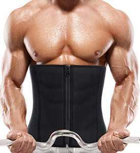 RACELO Mens Sauna Waist Trainer Corset Belly Tummy Control Sweat Workout Trimmer Belt Body Shaper Back Support (Black Waist Cincher, 3XL)