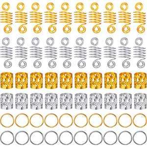 350 Pieces Dreadlocks Beads Set Aluminum Hair Rings Dreadlocks Braiding Beads Metal Cuffs Tubes Copper Hair Dreadlocks for Braiding Hair Accessories, Gold and Silver
